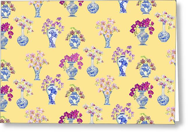 Orchids Greeting Cards - Oriental vases with Orchids Greeting Card by Kimberly McSparran