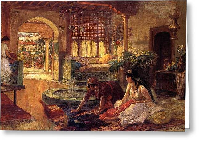 Frederick Drawings Greeting Cards - Orientalist Interior  Greeting Card by Bridgeman Frederick Arthur