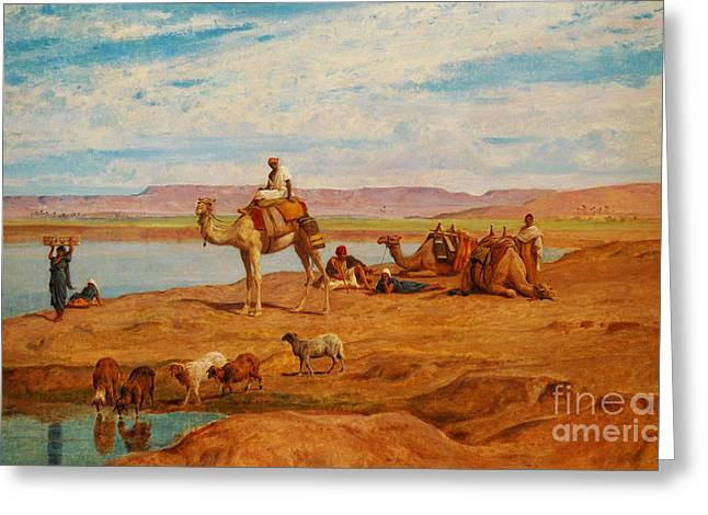 Sand Dunes Paintings Greeting Cards - Orientalist Paintings Greeting Card by Celestial Images