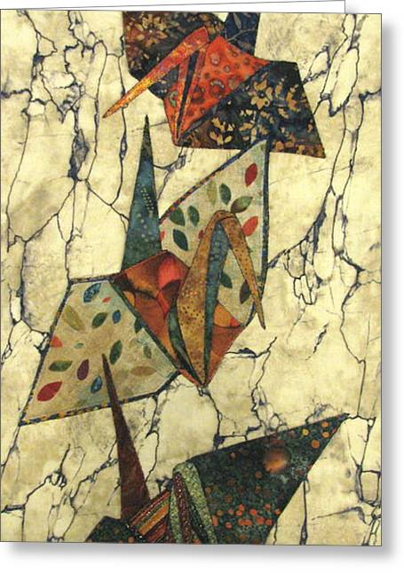 Abstract Nature Tapestries - Textiles Greeting Cards - Origami Cranes Greeting Card by Lynda K Boardman