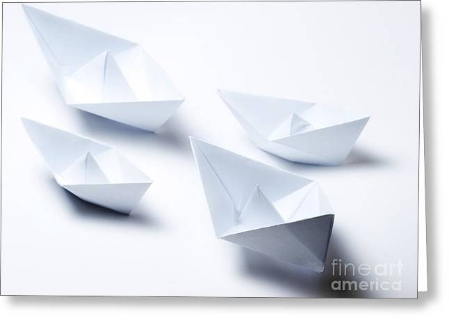 Toy Boat Greeting Cards - Origami fleet Greeting Card by Sinisa Botas