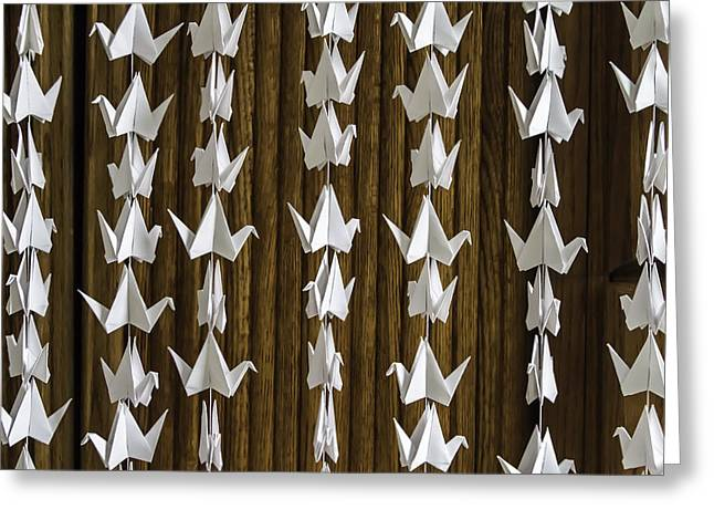 Shower Curtain Greeting Cards - Origami White Crane Detail  4560 Greeting Card by Karen Celella