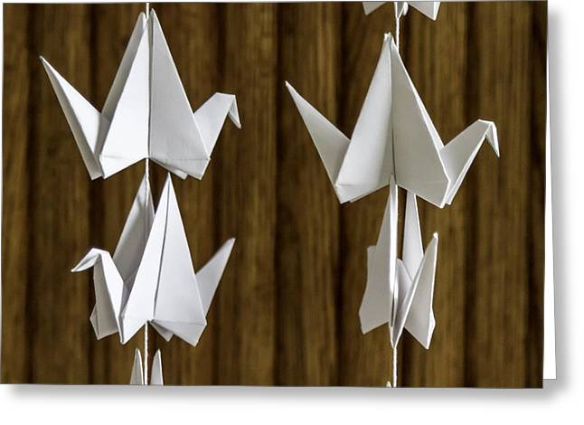 Shower Curtain Greeting Cards - Origami White Crane Detail 4561 Greeting Card by Karen Celella