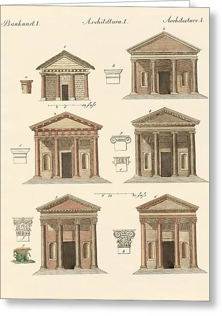 Architektur Drawings Greeting Cards - Origin and development of architecture Greeting Card by Splendid Art Prints