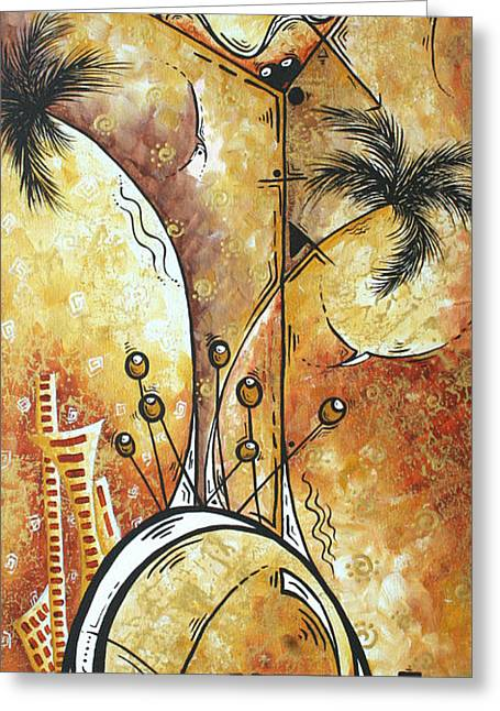 Original Abstract Cityscape And Martini Art Modern Las Vegas Painting The Spirit Of Vegas By Madart Greeting Card by Megan Duncanson