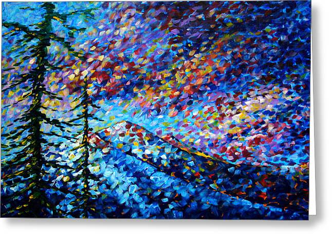 Bold Greeting Cards - Original Abstract Impressionist Landscape Contemporary Art by MADART Mountain Glory Greeting Card by Megan Duncanson