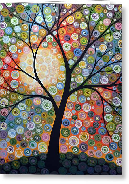 Original Abstract Tree Landscape Art Painting ... Waiting For The Moon Greeting Card by Amy Giacomelli