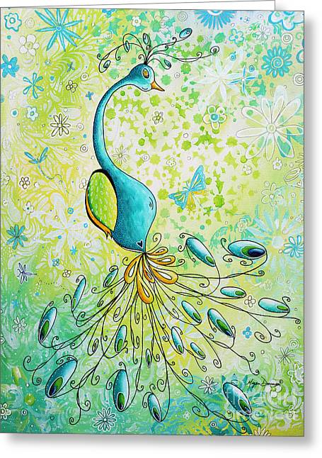 Original Acrylic Bird Floral Painting Peacock Glory By Megan Duncanson Greeting Card by Megan Duncanson