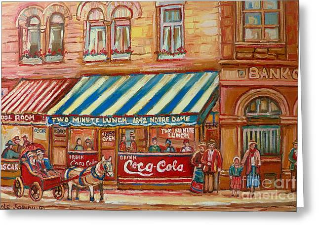Original Bank Notre Dame Street Greeting Card by Carole Spandau