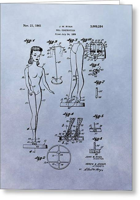 Barbie Greeting Cards - Original Barbie Doll Patent Greeting Card by Dan Sproul