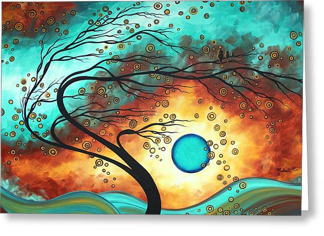 Daddy Greeting Cards - Original Bold Colorful Abstract Landscape Painting FAMILY JOY II by MADART Greeting Card by Megan Duncanson