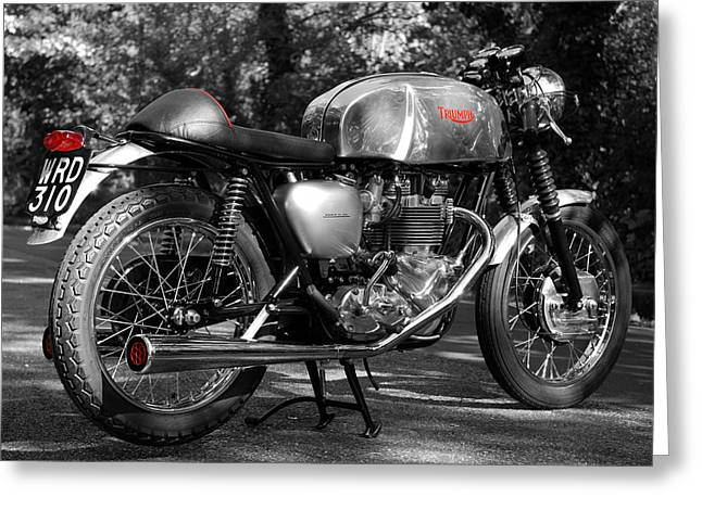 Motorcycle Poster Greeting Cards - Original Cafe Racer Greeting Card by Mark Rogan