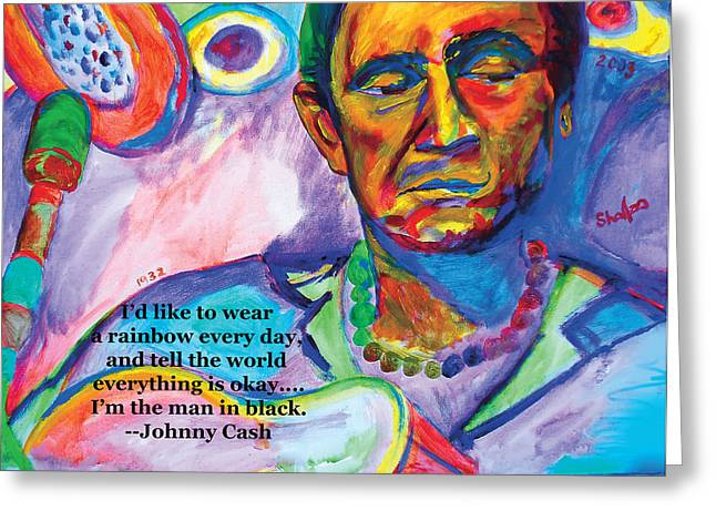 Rock And Roll Heaven Greeting Cards - Original Celebrity Painting Johnny Cash by Shalla the Artist 24x18 Greeting Card by Shalla TheArtist