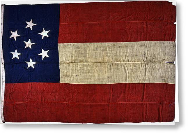 Confederate Flag Photographs Greeting Cards - ORIGINAL STARS and BARS CONFEDERATE CIVIL WAR FLAG Greeting Card by Daniel Hagerman