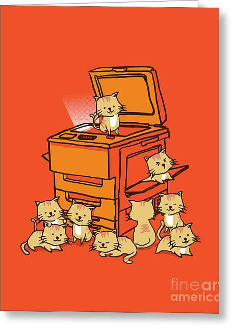 Cute Cat Greeting Cards - Original copycat Greeting Card by Budi Kwan