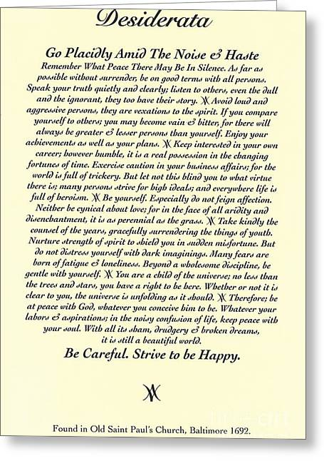 Recently Sold -  - Motivational Poster Greeting Cards - Original Desiderata Poem Greeting Card by Desiderata Gallery