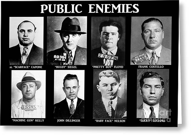 Paul Greeting Cards - Original Gangsters - Public Enemies Greeting Card by Paul Ward