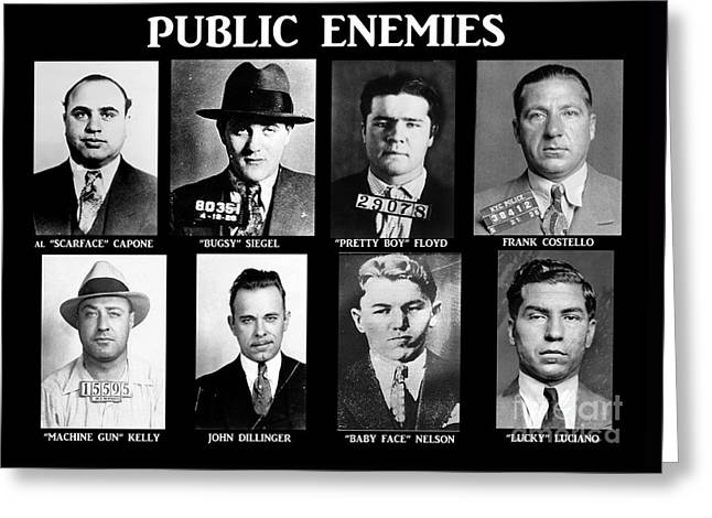 Franks Greeting Cards - Original Gangsters - Public Enemies Greeting Card by Paul Ward