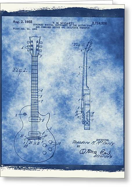 Amplifier Greeting Cards - Original Guitar Patent  Greeting Card by Dan Sproul