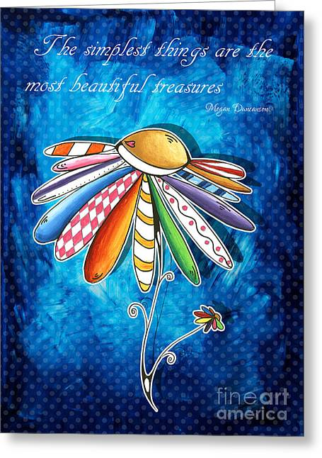 Uplifting Drawings Greeting Cards - Original Hand Painted Daisy Quilt Painting Inspirational Art Quote by Megan Duncanson Greeting Card by Megan Duncanson