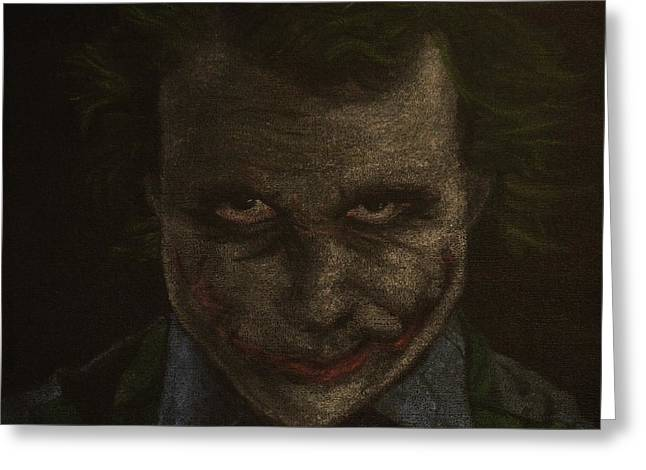 Batman Pastels Greeting Cards - Original Heath Ledger as The Joker Greeting Card by Will Dudley