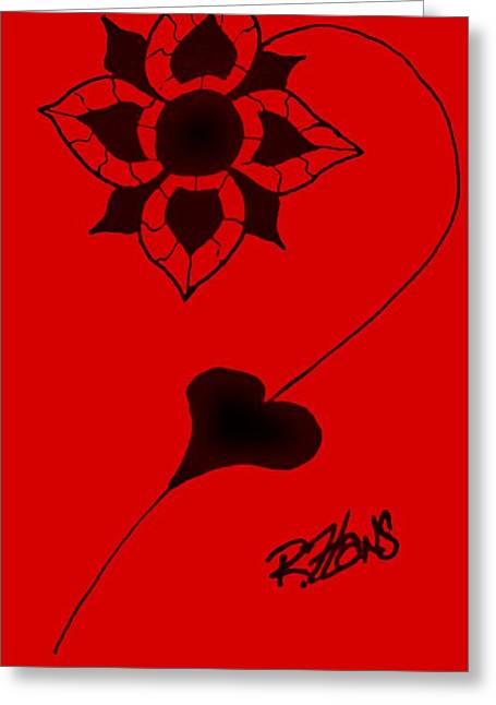 Crimson Drawings Greeting Cards - Original Ink Flower Red Greeting Card by Rob Hans