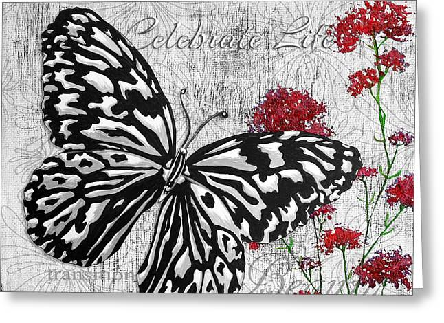 Quotes To Live By Greeting Cards - Original Inspirational Uplifting Butterfly Painting Celebrate Life Greeting Card by Megan Duncanson