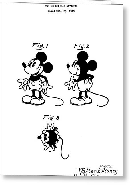 Toy Store Digital Art Greeting Cards - Original Mickey Mouse Patent Greeting Card by Dan Sproul