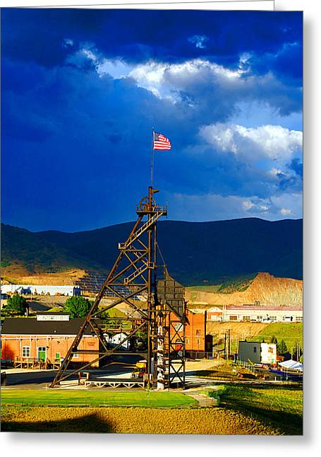 Montana Framed Prints Greeting Cards - Original Mine Yard Greeting Card by Kevin Bone