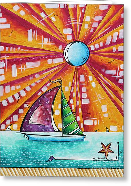 Sailboat Art Greeting Cards - Original Nautical Pop Art Sailboat Painting Sail Away by Megan Duncanson Greeting Card by Megan Duncanson