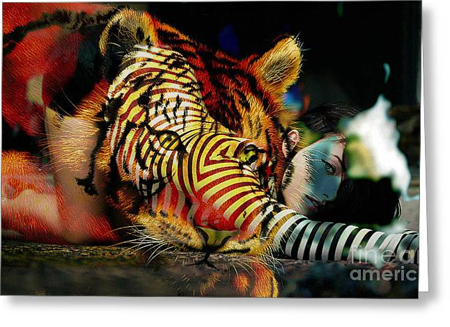Tiger Greeting Cards - Original Olivia Wild and The Tiger Painting Greeting Card by Marvin Blaine