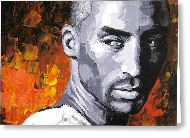 Lakers Paintings Greeting Cards - Original palette knife painting Kobe Bryant Greeting Card by Enxu Zhou