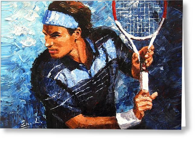Roger Federer Greeting Cards - original palette knife painting Roger Federer Greeting Card by Enxu Zhou
