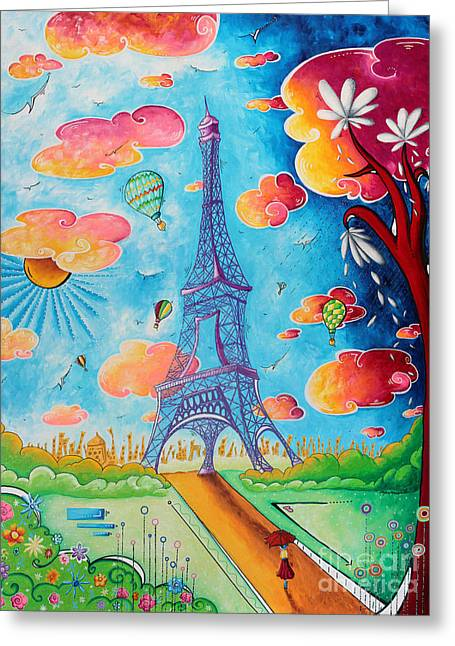 Megan Greeting Cards - Original Paris Eiffel Tower Pop Art Style Painting Fun and Chic by Megan Duncanson Greeting Card by Megan Duncanson