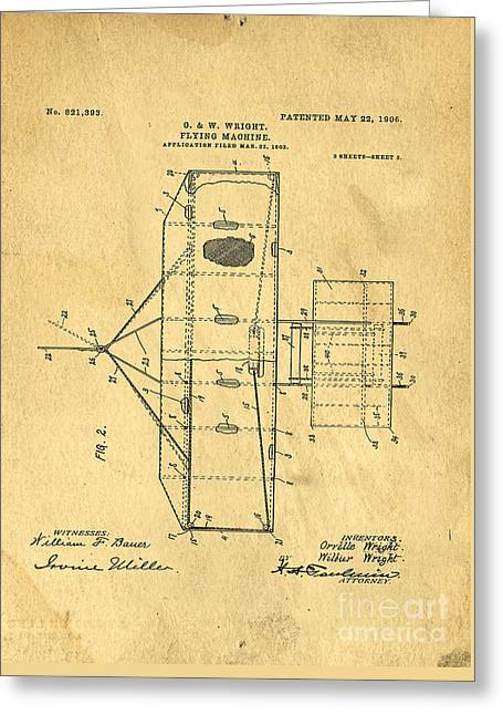 Patent Drawings Greeting Cards - Original Patent for Wright Flying Machine 1906 Greeting Card by Edward Fielding