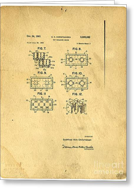 Charts Greeting Cards - Original Patent for Lego Toy Building Brick Greeting Card by Edward Fielding