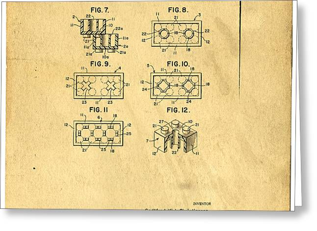 Original Patent for Lego Toy Building Brick Greeting Card by Edward Fielding