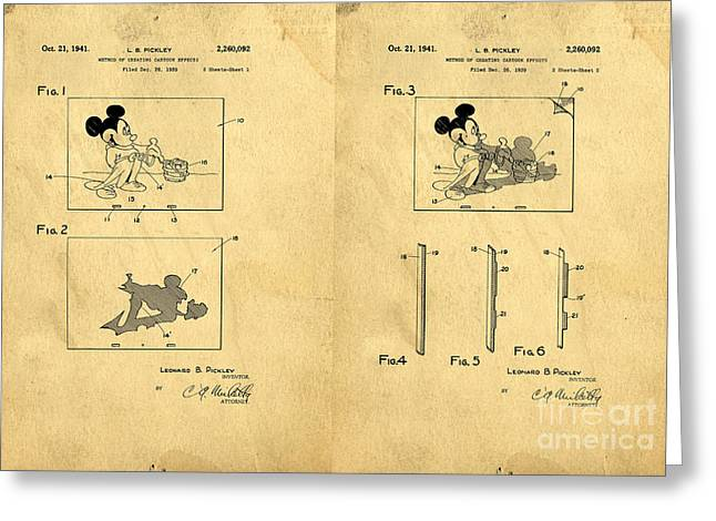 Mickey Greeting Cards - Original Patent for Method of creating cartoon effects Greeting Card by Edward Fielding