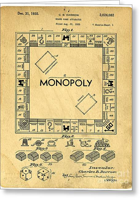 Toys Greeting Cards - Original Patent for Monopoly Board Game Greeting Card by Edward Fielding