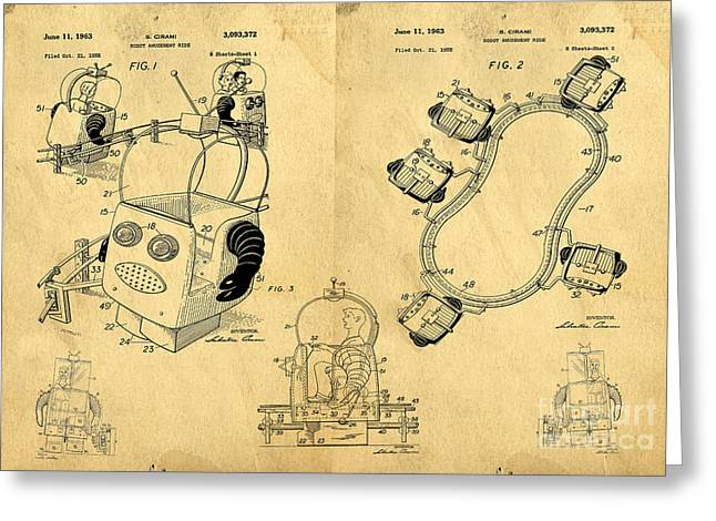 Fun Drawings Greeting Cards - Original Patent for Robot Amusement Park Ride Greeting Card by Edward Fielding