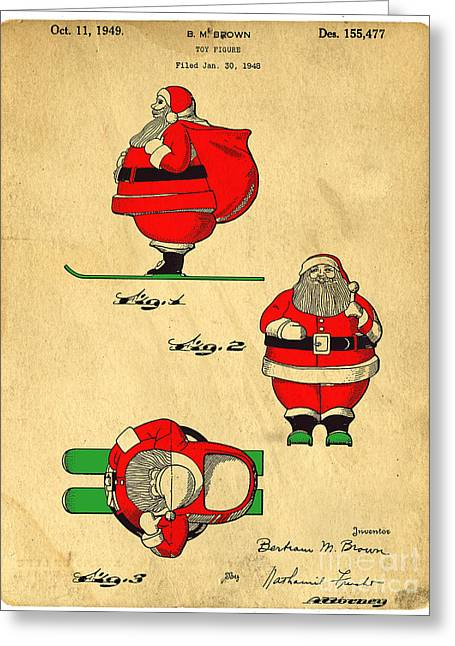 Santa Claus Greeting Cards - Original Patent for Santa On Skis Figure Greeting Card by Edward Fielding