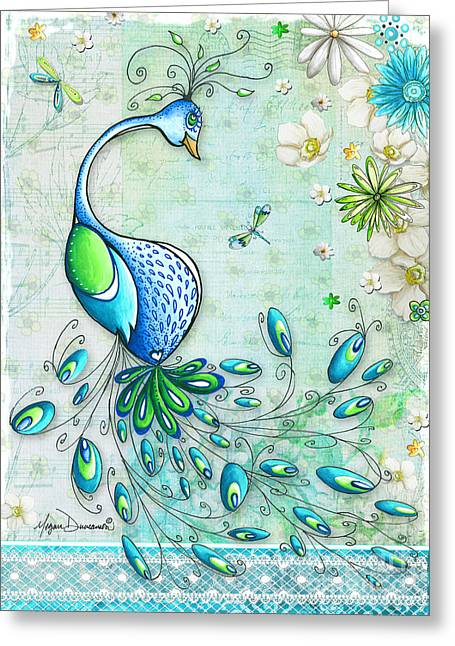 Dragonflies Greeting Cards - Original Peacock Painting Bird Art by Megan Duncanson Greeting Card by Megan Duncanson