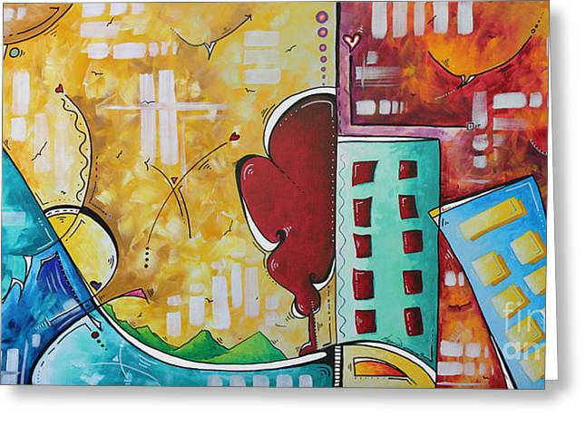 Buy Local Greeting Cards - Original Pop Art Style Landscape Cityscape Painting by Megan Duncanson Greeting Card by Megan Duncanson