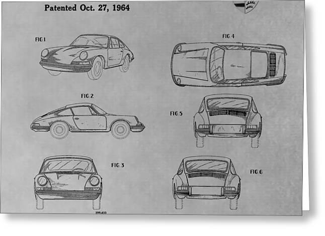 Original Porsche 356 Greeting Cards - Original Porsche Patent Greeting Card by Dan Sproul