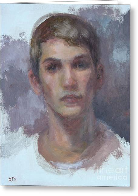 Subtle Colors Greeting Cards - Original Portrait called Boyfriend - Commission Your Own Painting Greeting Card by Quin Sweetman