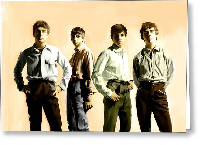 The Beatles Images Greeting Cards - Original Punk III  The Beatles  Greeting Card by Iconic Images Art Gallery David Pucciarelli