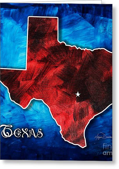 Licensor Mixed Media Greeting Cards - Original Rich Colorful Red White and Blue Texas Map Outline by Megan Duncanson Greeting Card by Megan Duncanson