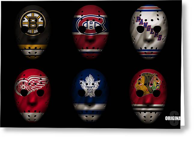 Goalie Greeting Cards - Original Six Jersey Mask Greeting Card by Joe Hamilton
