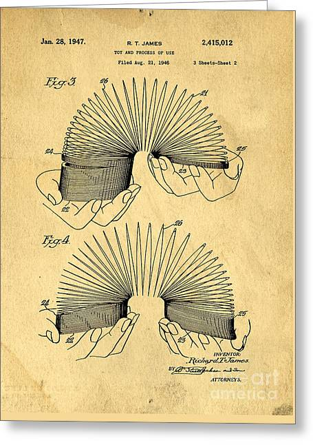 Kids Room Drawings Greeting Cards - Original Slinky Toy Patent Greeting Card by Edward Fielding