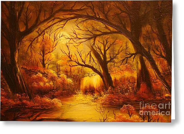 ORIGINAL SOLD-Hot forest- Private Collection- Buy Giclee Print Nr 44  Greeting Card by Eddie Michael Beck